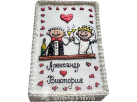 Одноярусный свадебный торт с именами жениха и невесты № 422