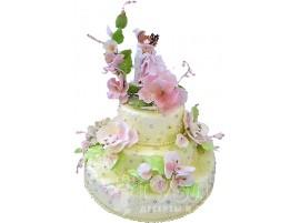 Свадебный торт с цветами трехъярусный № 185