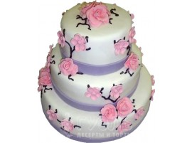 Свадебный торт с розовыми цветами трехъярусный № 429