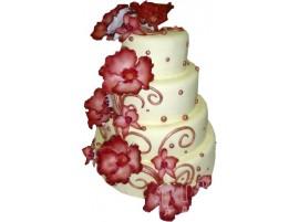 Белый свадебный торт с красными цветами № 453
