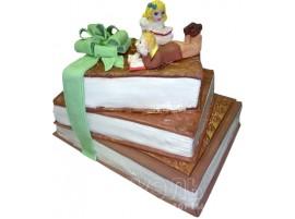 Трехъярусный свадебный торт с зеленым бантом № 461