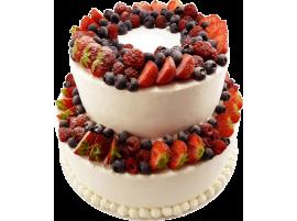 Свадебный торт со свежими ягодами № 616