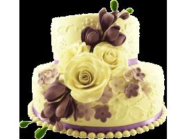 Свадебный торт с цветами, двухъярусный № 205